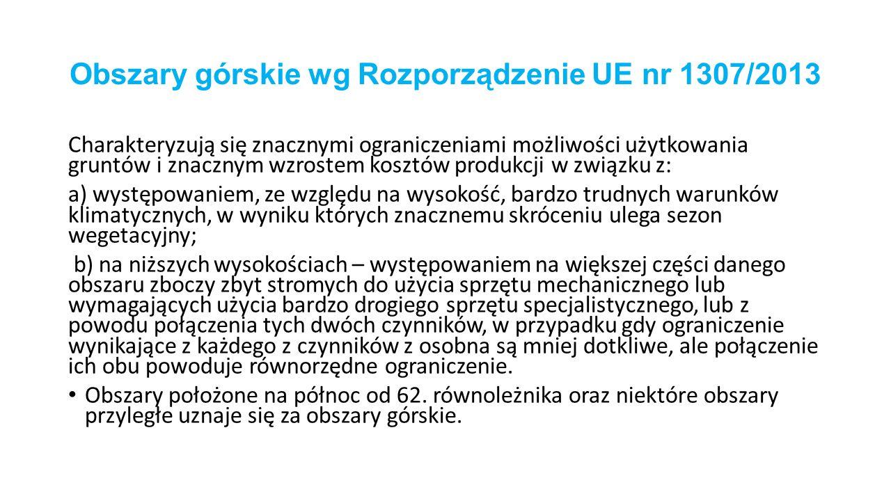 Obszary górskie wg Rozporządzenie UE nr 1307/2013
