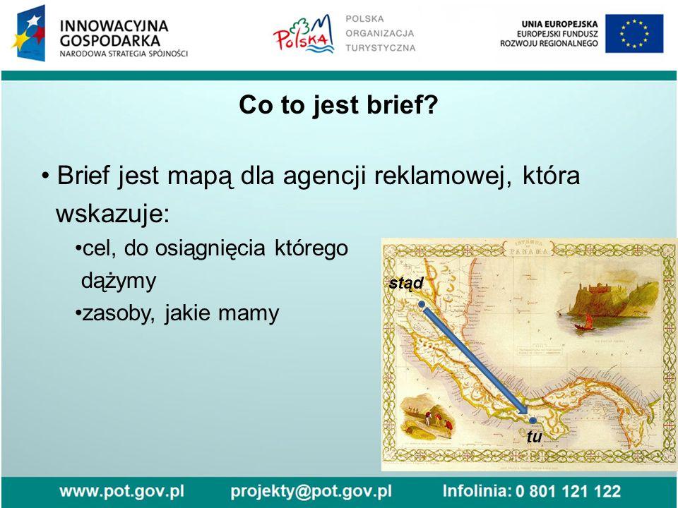 Brief jest mapą dla agencji reklamowej, która wskazuje: