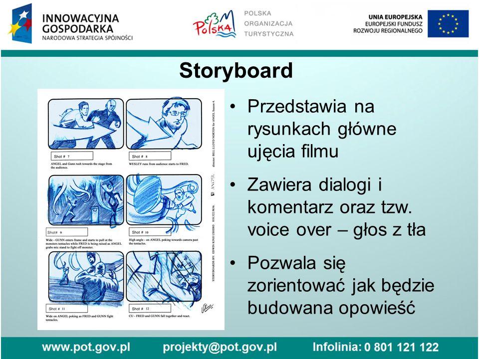 Storyboard Przedstawia na rysunkach główne ujęcia filmu