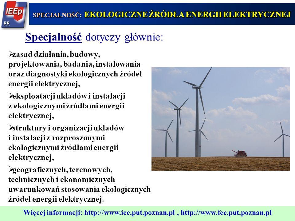 SPECJALNOŚĆ: EKOLOGICZNE ŹRÓDŁA ENERGII ELEKTRYCZNEJ