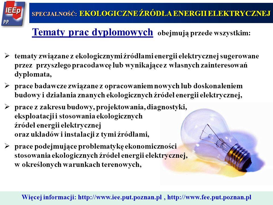Tematy prac dyplomowych obejmują przede wszystkim: