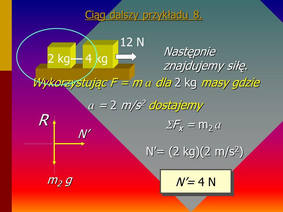 Wykorzystując F = m a dla 2 kg masy gdzie