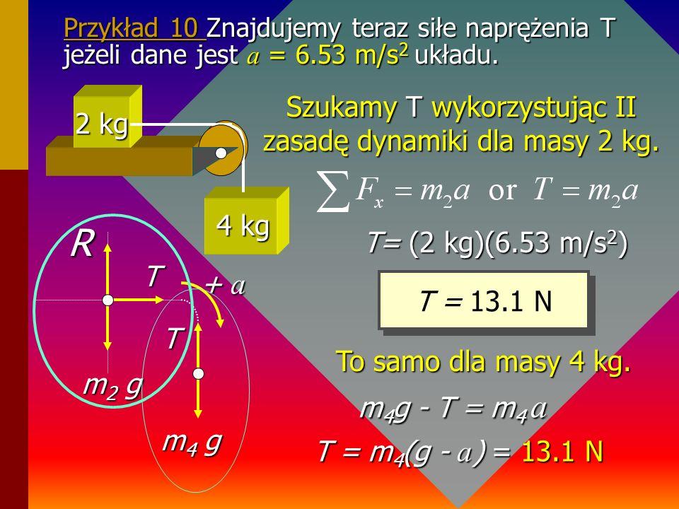 Szukamy T wykorzystując II zasadę dynamiki dla masy 2 kg.