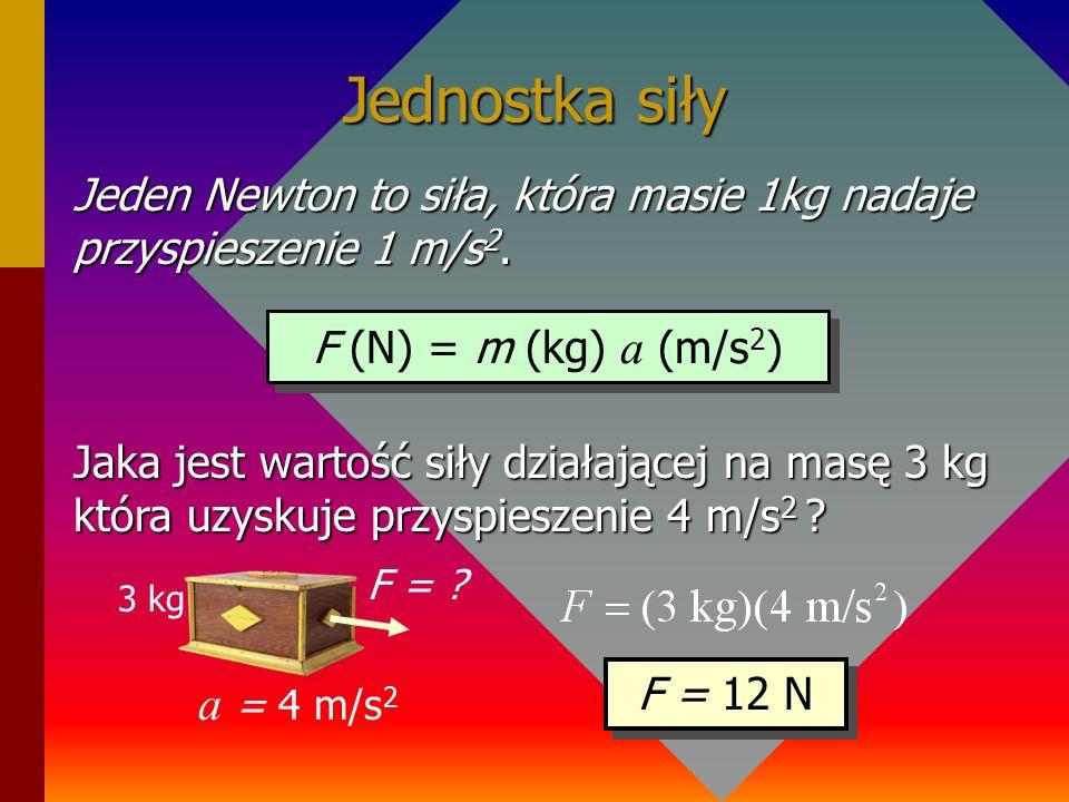 Jednostka siły Jeden Newton to siła, która masie 1kg nadaje przyspieszenie 1 m/s2. F (N) = m (kg) a (m/s2)