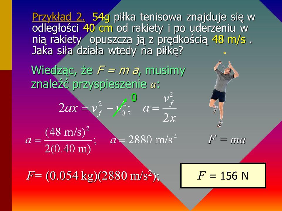 Przykład 2. 54g piłka tenisowa znajduje się w odległości 40 cm od rakiety i po uderzeniu w nią rakiety opuszcza ją z prędkością 48 m/s . Jaka siła działa wtedy na piłkę
