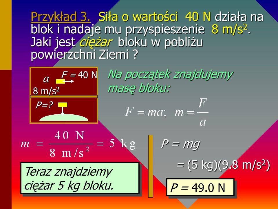 Przykład 3. Siła o wartości 40 N działa na blok i nadaje mu przyspieszenie 8 m/s2. Jaki jest ciężar bloku w pobliżu powierzchni Ziemi