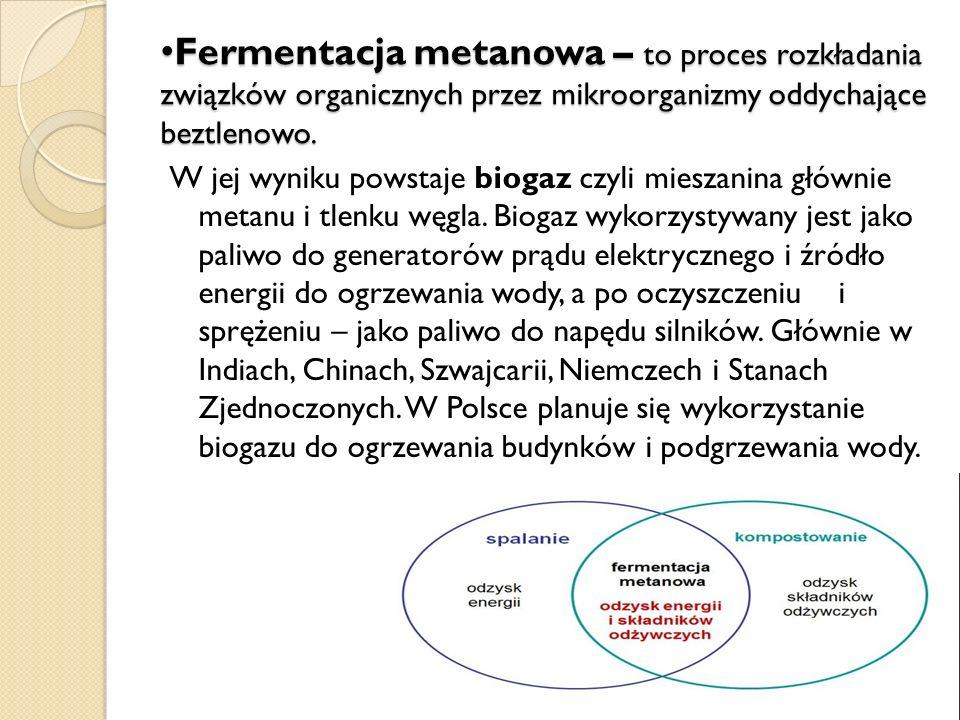 Fermentacja metanowa – to proces rozkładania związków organicznych przez mikroorganizmy oddychające beztlenowo.