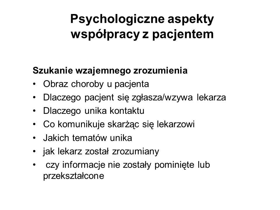 Psychologiczne aspekty współpracy z pacjentem
