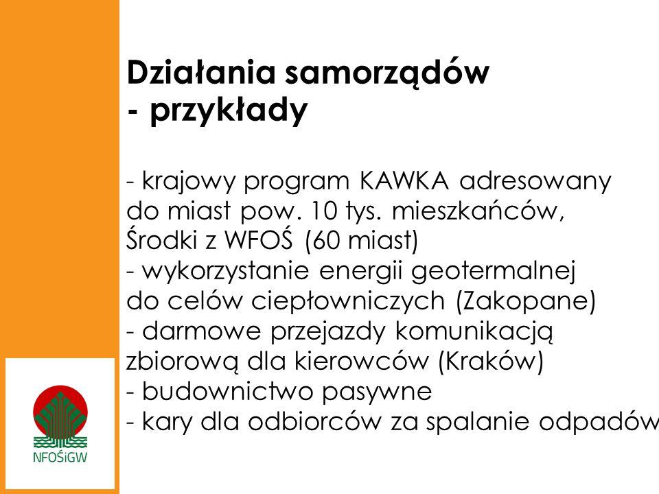 Działania samorządów - przykłady - krajowy program KAWKA adresowany