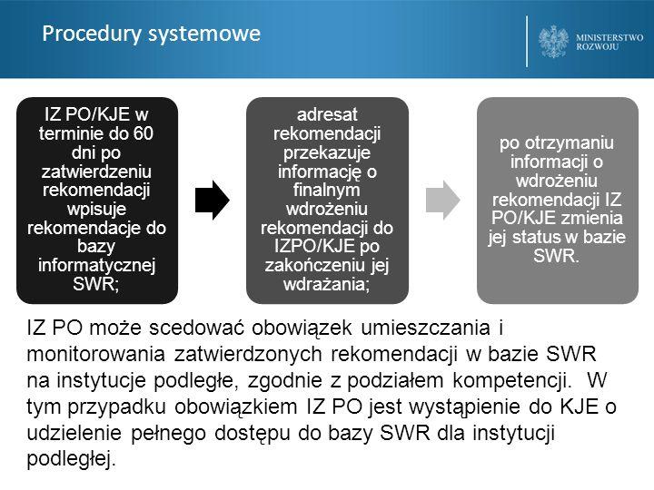 Procedury systemowe IZ PO/KJE w terminie do 60 dni po zatwierdzeniu rekomendacji wpisuje rekomendacje do bazy informatycznej SWR;