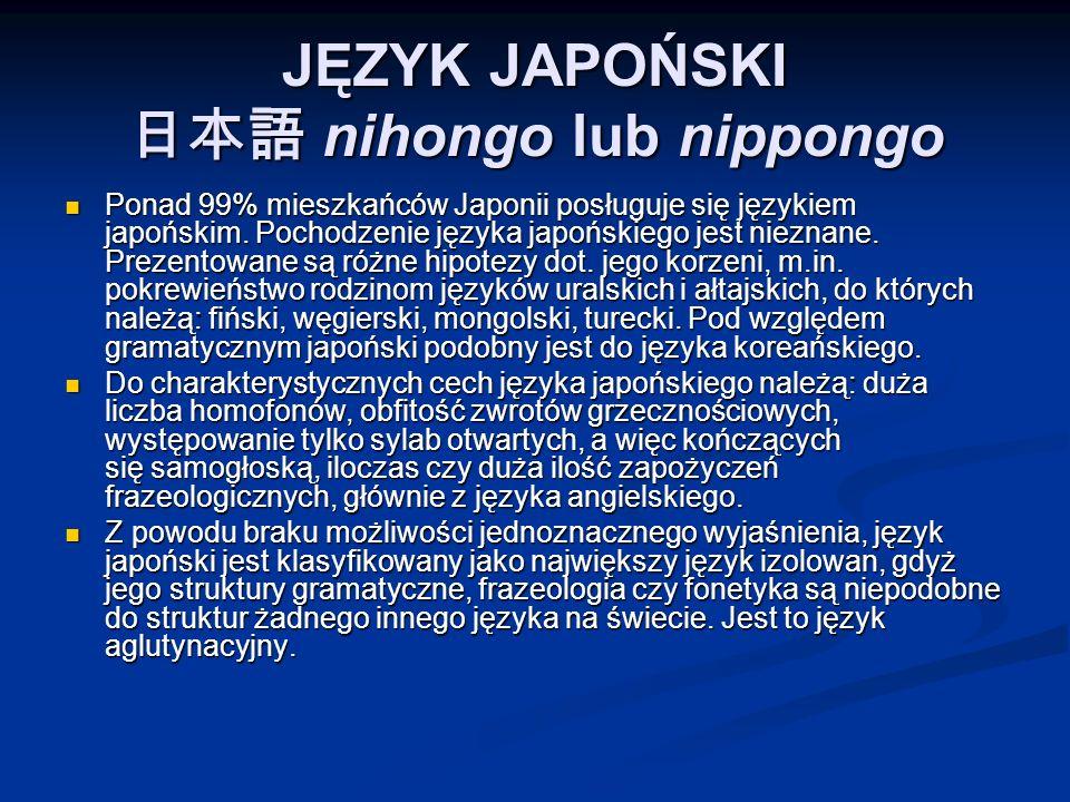 JĘZYK JAPOŃSKI 日本語 nihongo lub nippongo