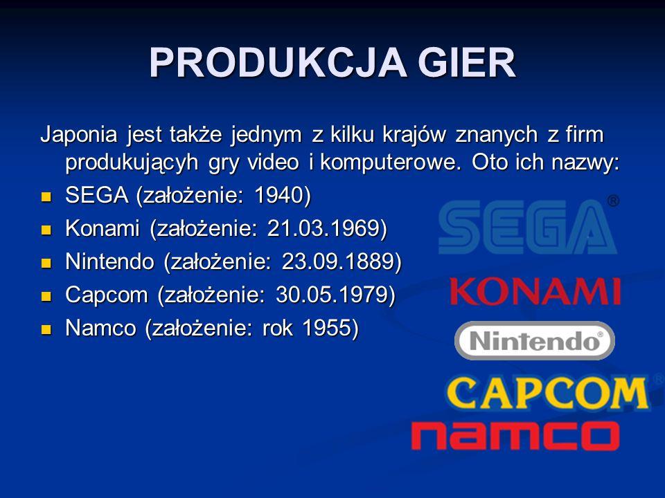 PRODUKCJA GIER Japonia jest także jednym z kilku krajów znanych z firm produkującyh gry video i komputerowe. Oto ich nazwy:
