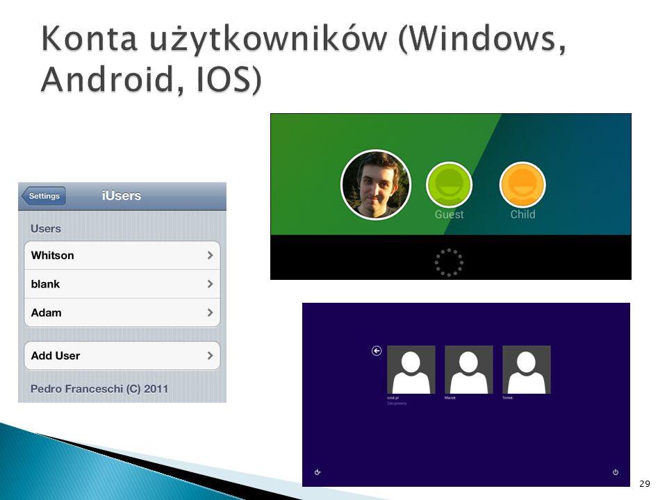 Konta użytkowników (Windows, Android, IOS)