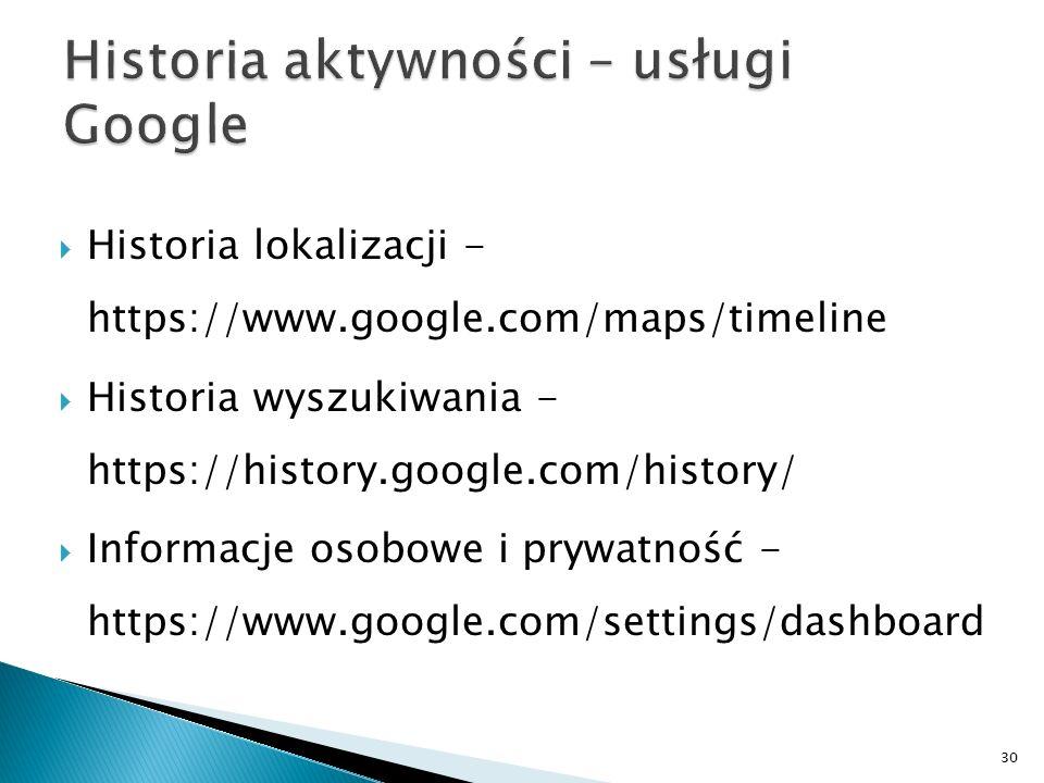 Historia aktywności – usługi Google