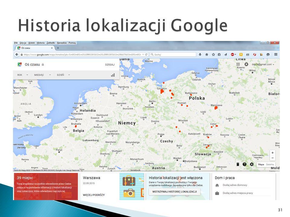Historia lokalizacji Google