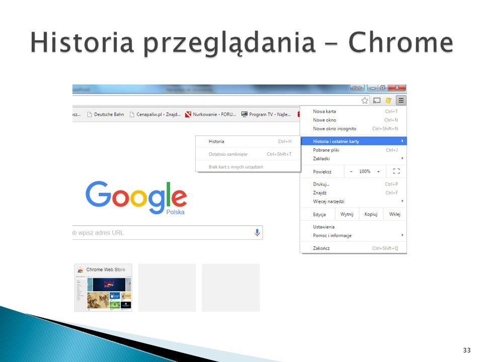 Historia przeglądania - Chrome