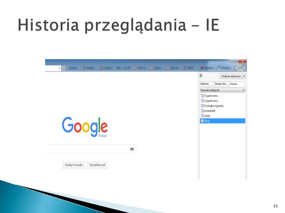 Historia przeglądania - IE