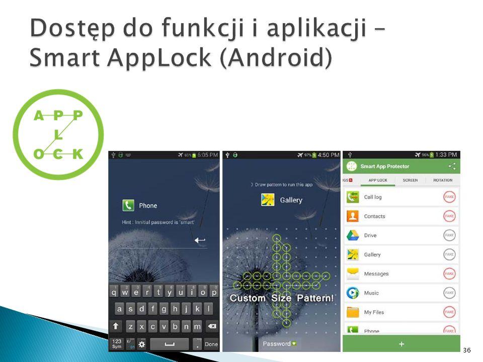 Dostęp do funkcji i aplikacji –Smart AppLock (Android)