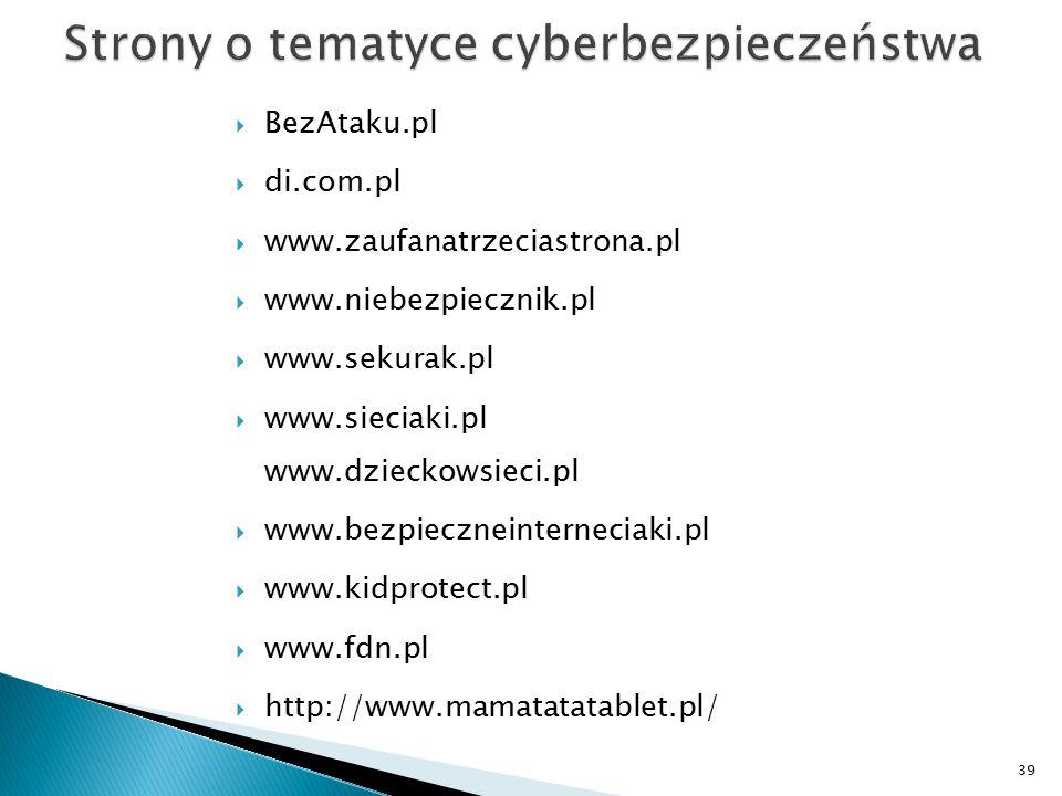 Strony o tematyce cyberbezpieczeństwa