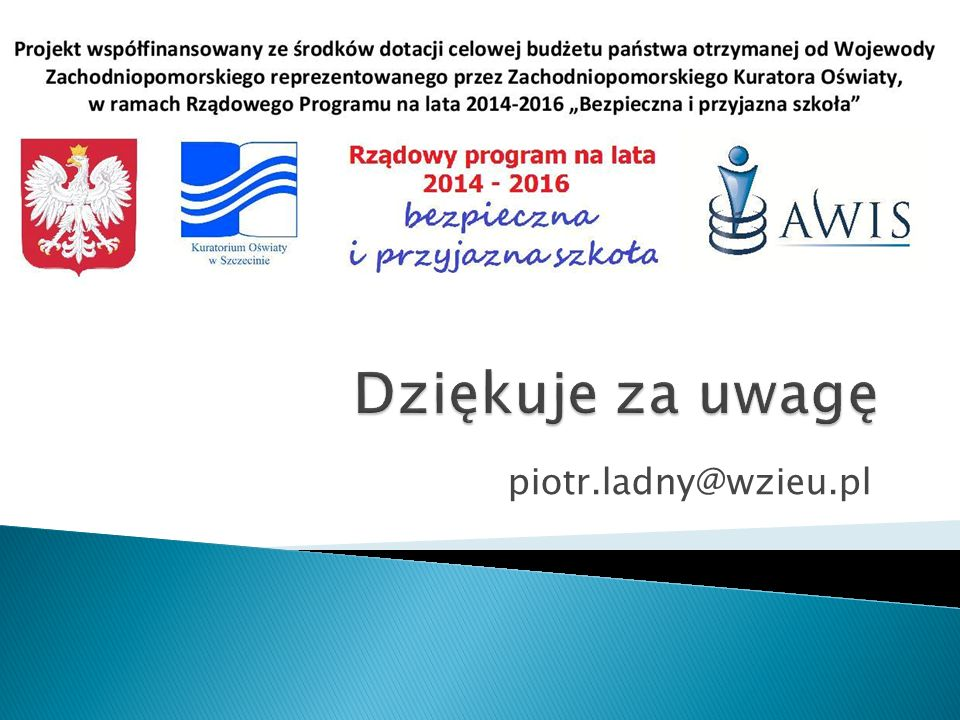 Dziękuje za uwagę piotr.ladny@wzieu.pl
