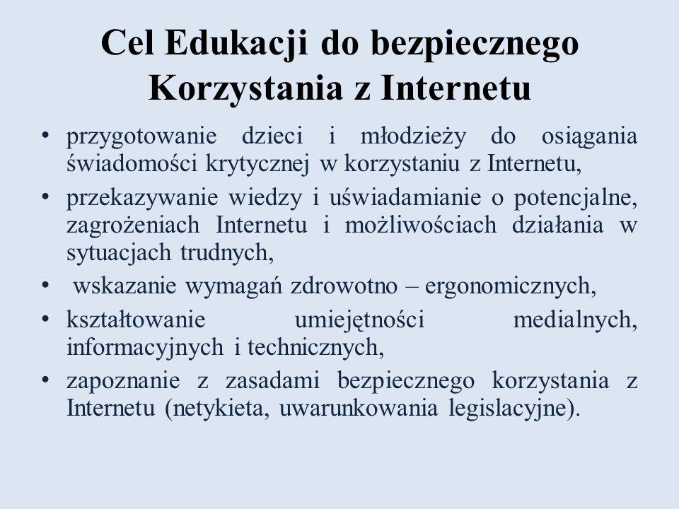 Cel Edukacji do bezpiecznego Korzystania z Internetu