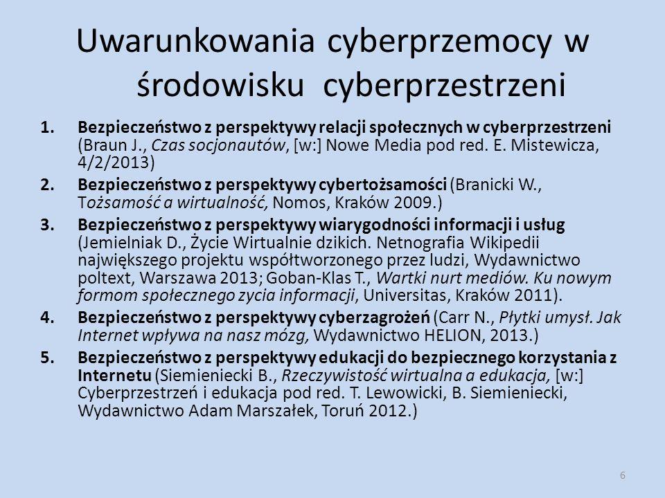 Uwarunkowania cyberprzemocy w środowisku cyberprzestrzeni