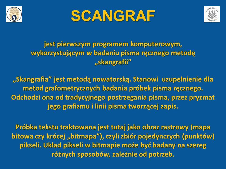"""SCANGRAF jest pierwszym programem komputerowym, wykorzystującym w badaniu pisma ręcznego metodę """"skangrafii"""