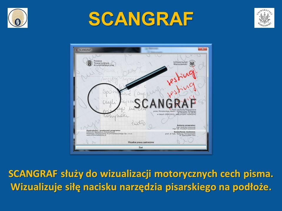 SCANGRAF SCANGRAF służy do wizualizacji motorycznych cech pisma.