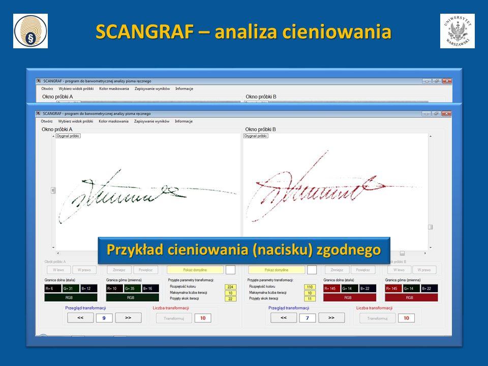SCANGRAF – analiza cieniowania Przykład cieniowania (nacisku) zgodnego