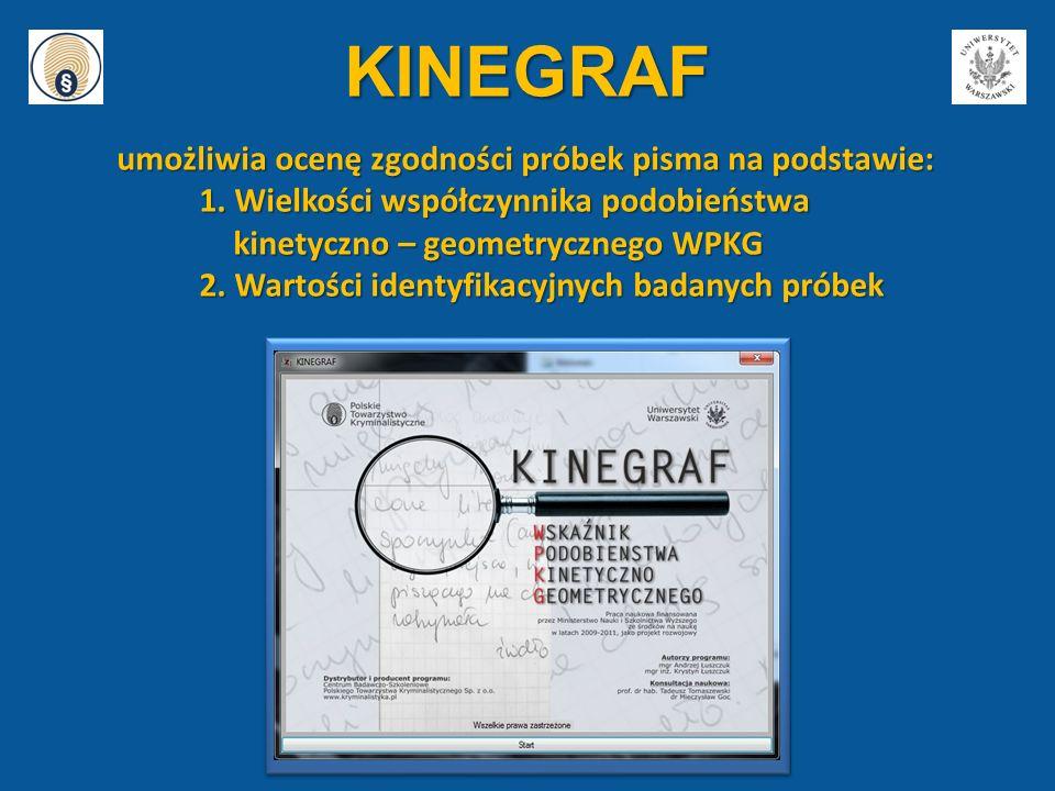KINEGRAF umożliwia ocenę zgodności próbek pisma na podstawie: