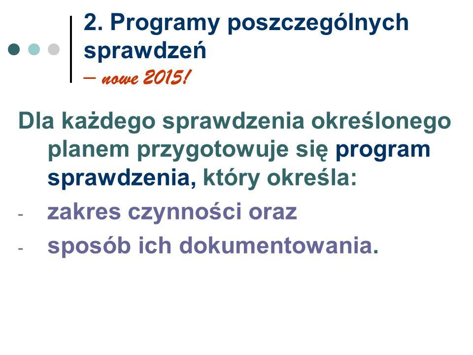 2. Programy poszczególnych sprawdzeń – nowe 2015!