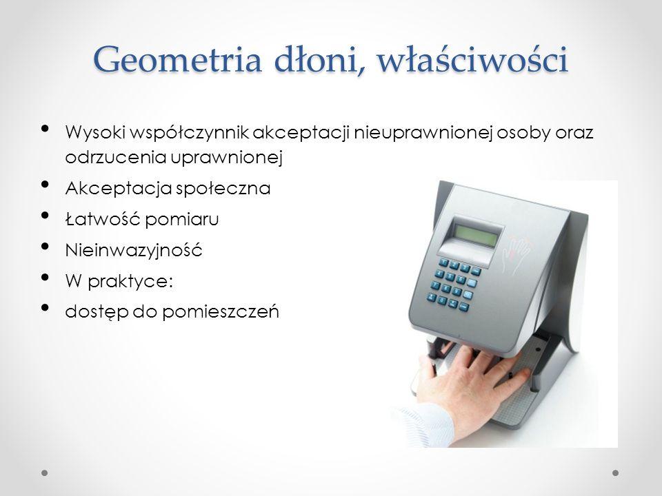 Geometria dłoni, właściwości