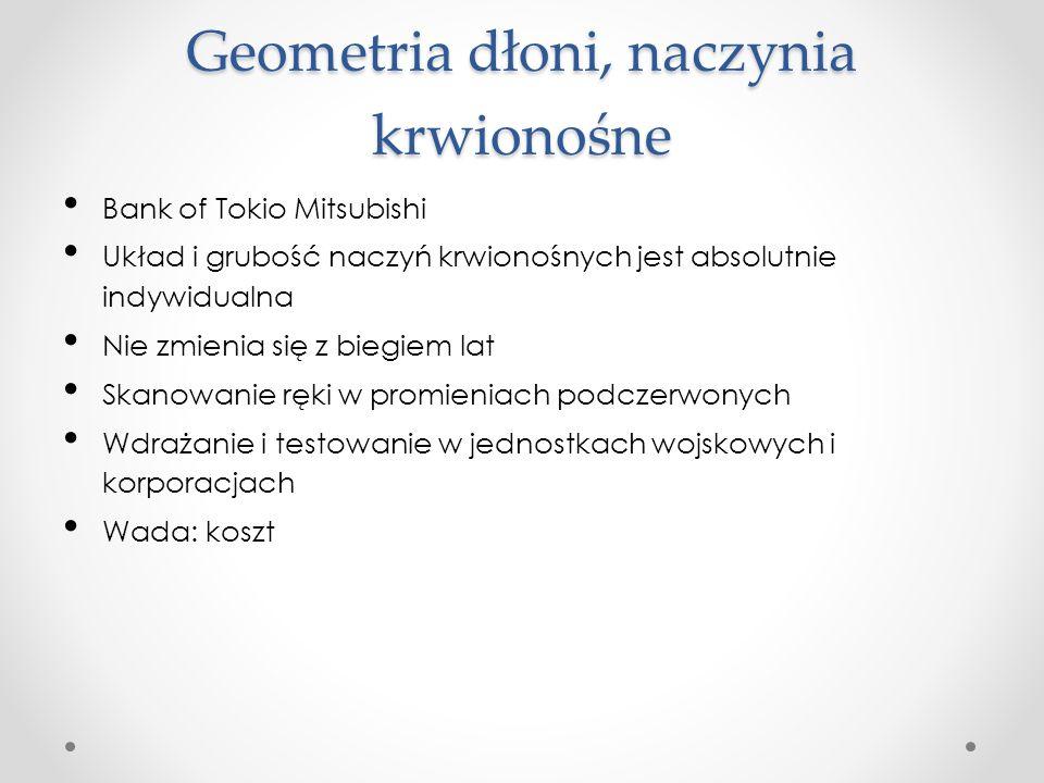 Geometria dłoni, naczynia krwionośne