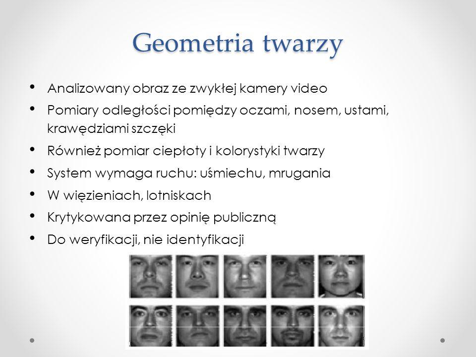 Geometria twarzy Analizowany obraz ze zwykłej kamery video