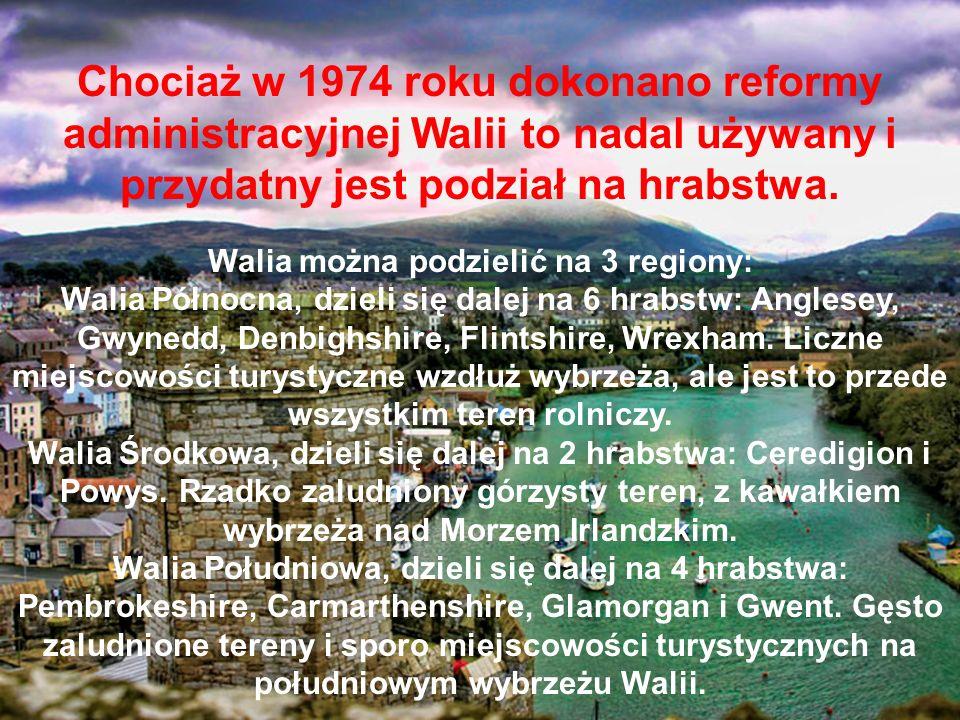 Walia można podzielić na 3 regiony: