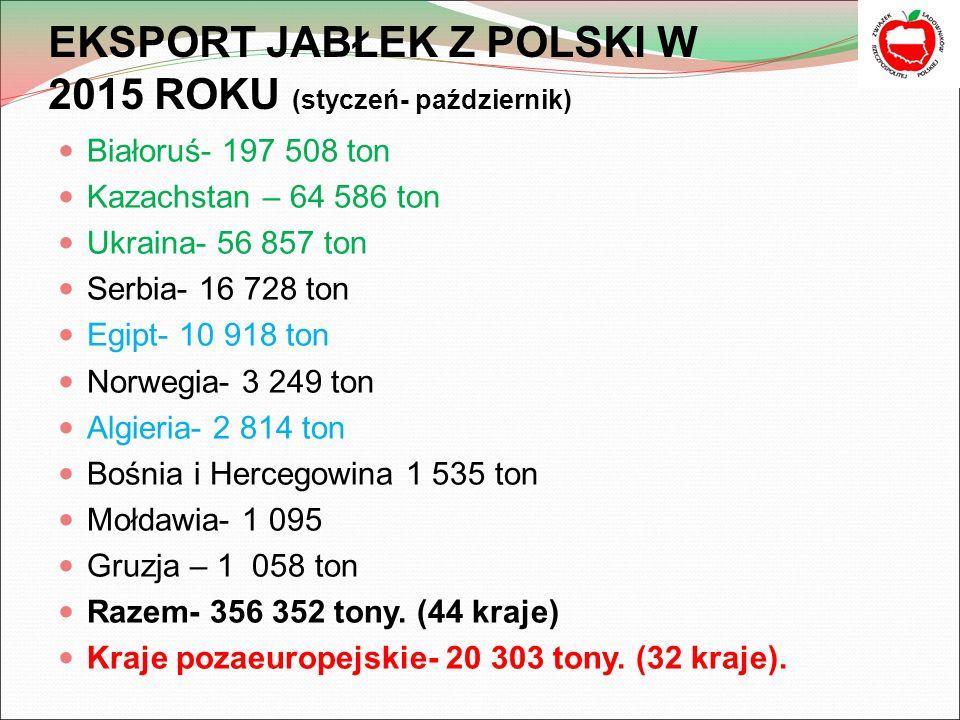 EKSPORT JABŁEK Z POLSKI W 2015 ROKU (styczeń- październik)