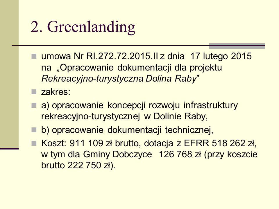 """2. Greenlanding umowa Nr RI.272.72.2015.II z dnia 17 lutego 2015 na """"Opracowanie dokumentacji dla projektu Rekreacyjno-turystyczna Dolina Raby"""