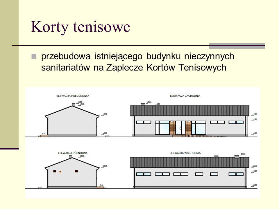 Korty tenisowe przebudowa istniejącego budynku nieczynnych sanitariatów na Zaplecze Kortów Tenisowych.