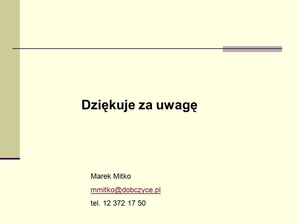 Dziękuje za uwagę Marek Mitko mmitko@dobczyce.pl tel. 12 372 17 50