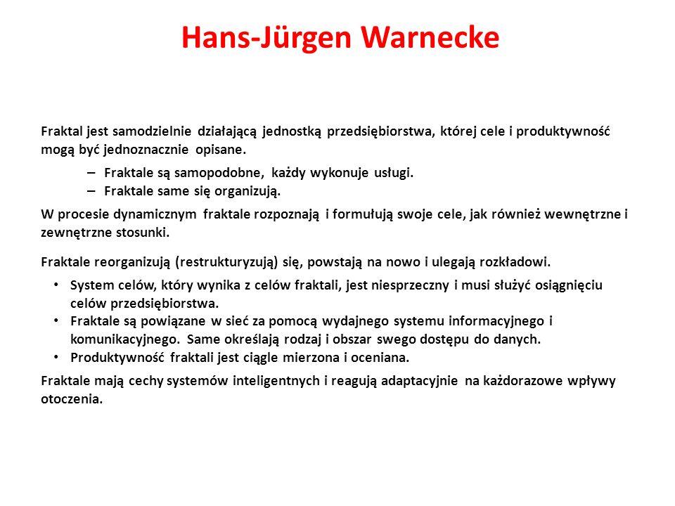 Hans-Jürgen Warnecke Fraktal jest samodzielnie działającą jednostką przedsiębiorstwa, której cele i produktywność mogą być jednoznacznie opisane.