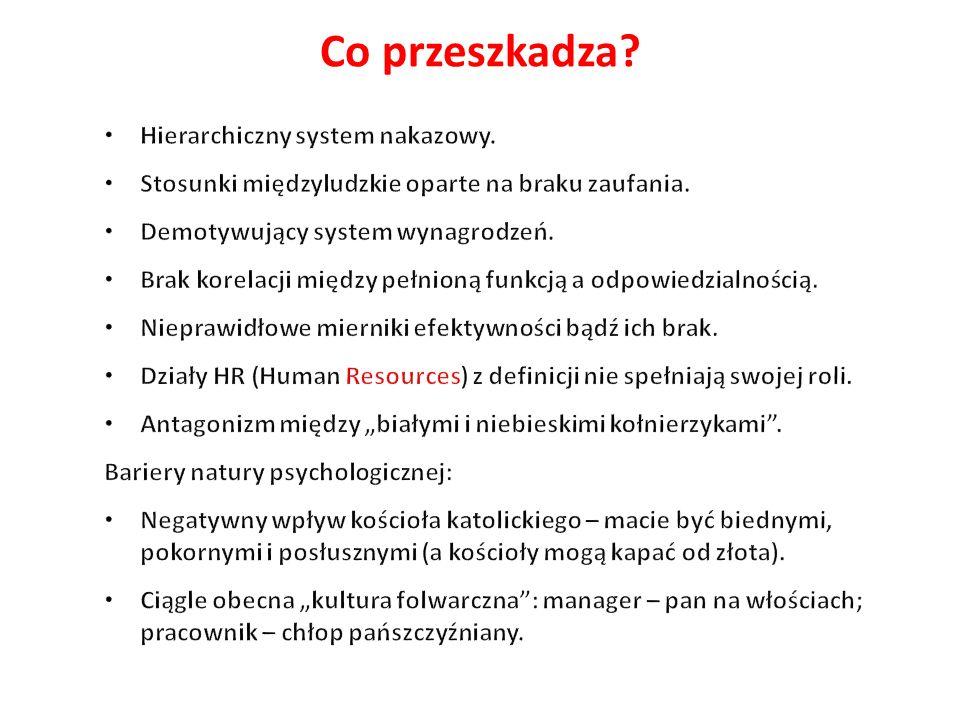 Co przeszkadza Hierarchiczny system nakazowy.