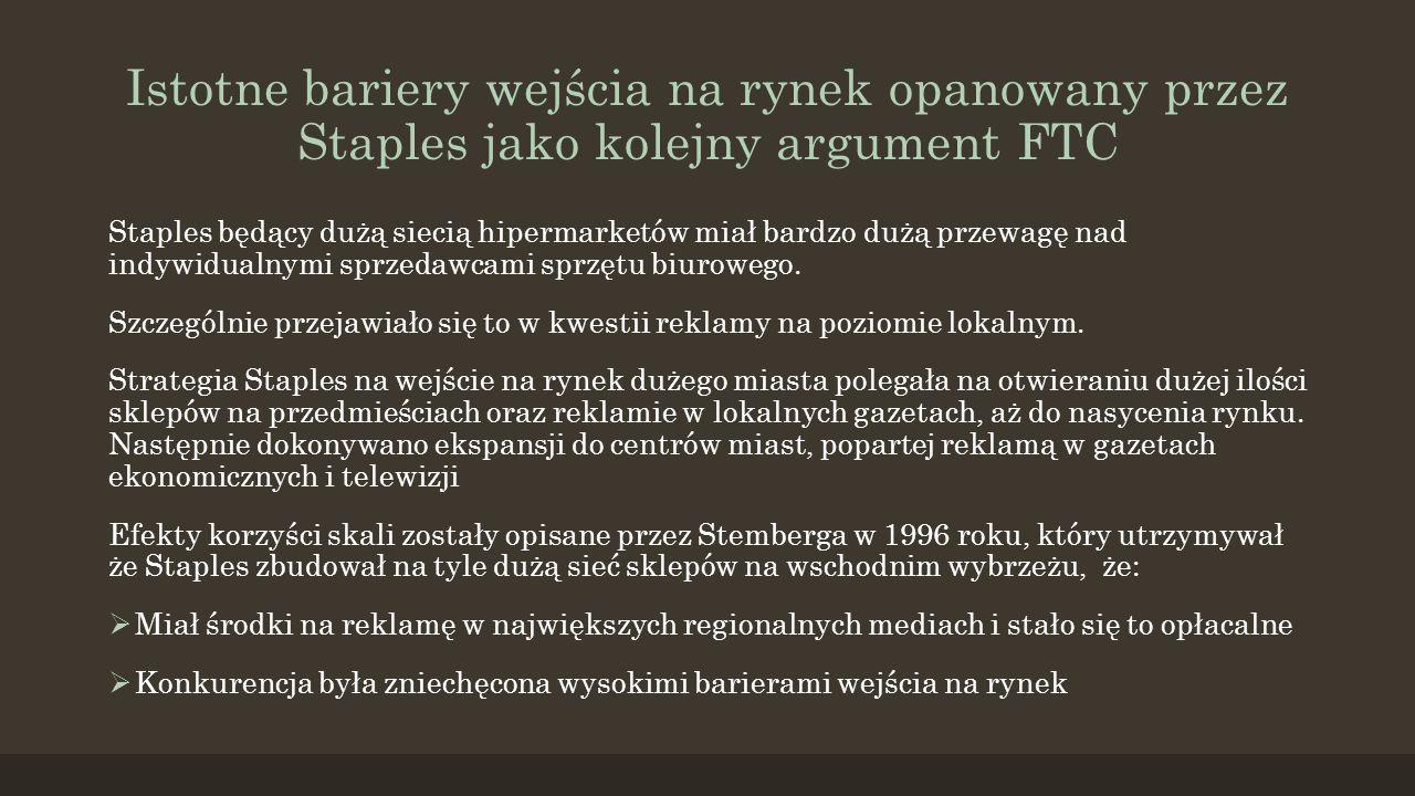 Istotne bariery wejścia na rynek opanowany przez Staples jako kolejny argument FTC