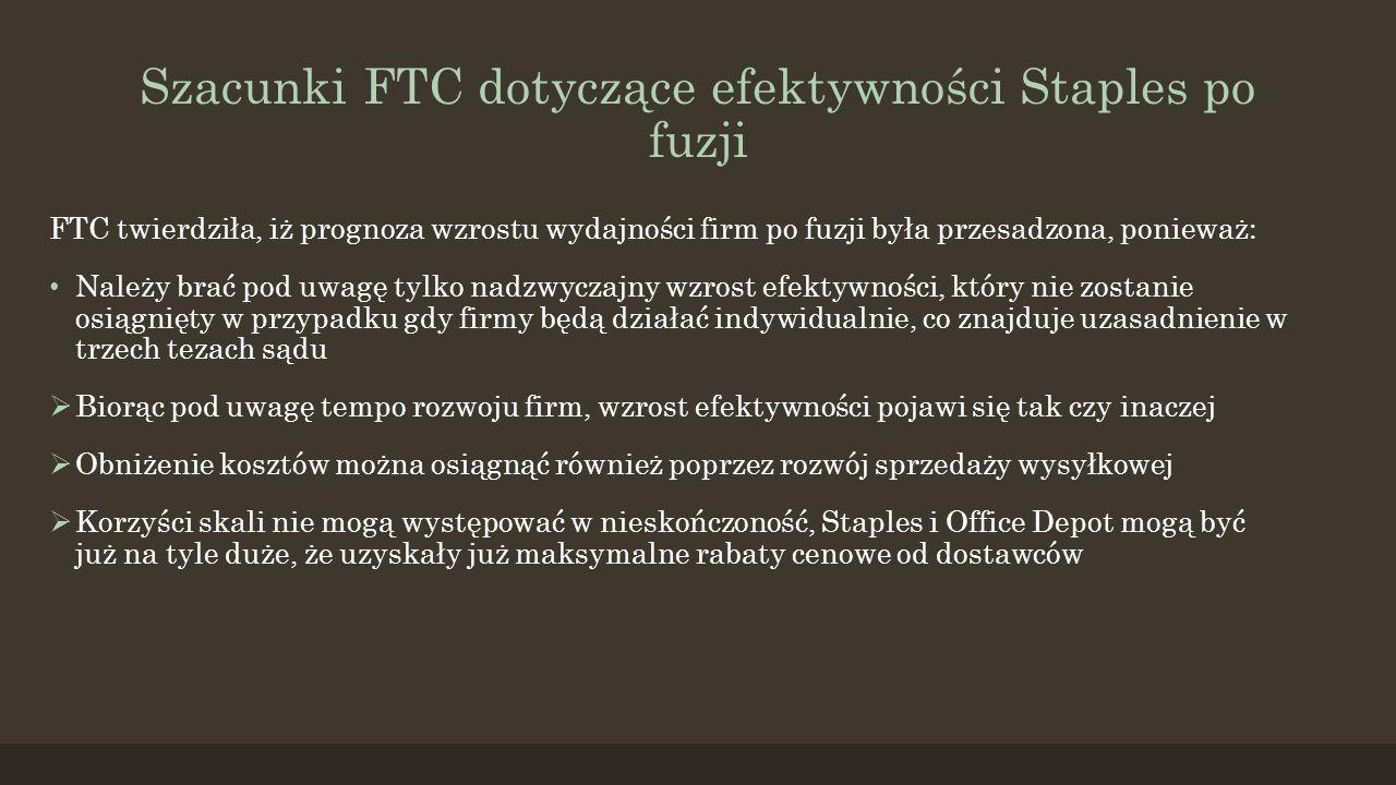 Szacunki FTC dotyczące efektywności Staples po fuzji