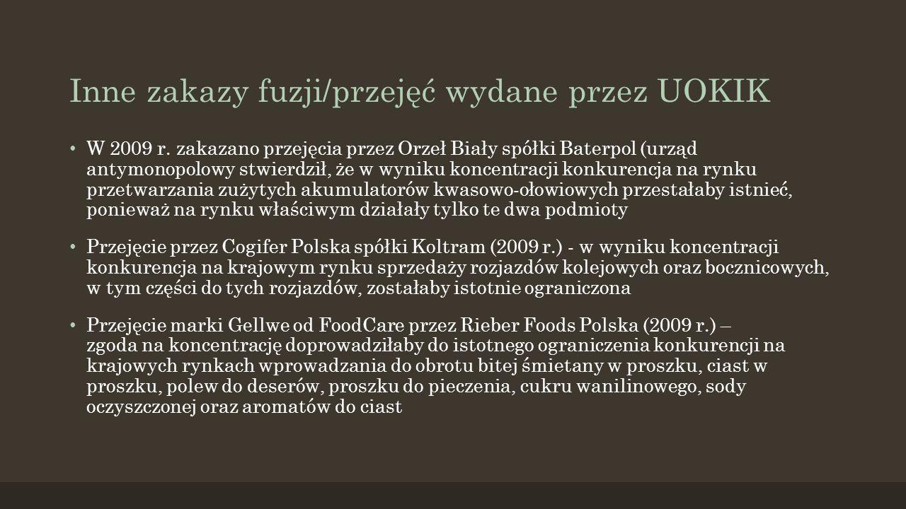 Inne zakazy fuzji/przejęć wydane przez UOKIK