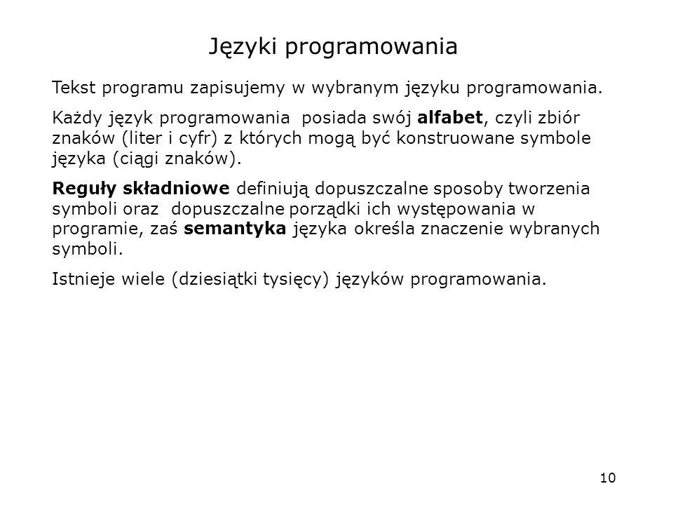 Języki programowania Tekst programu zapisujemy w wybranym języku programowania.