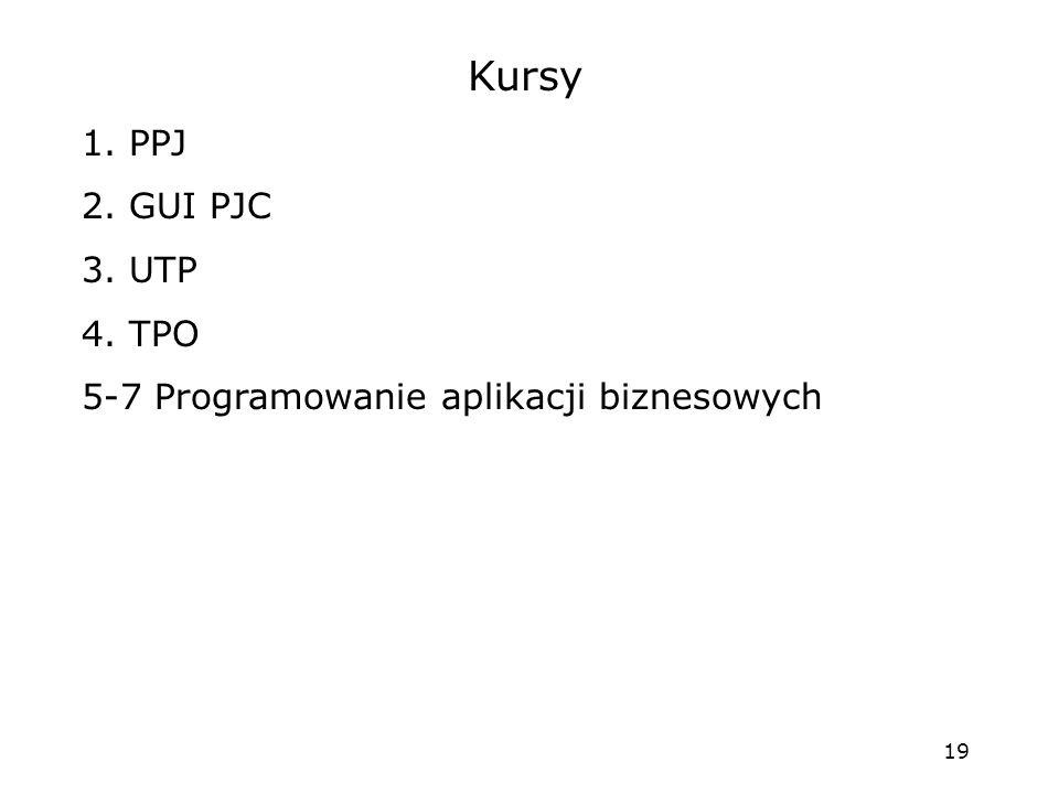 Kursy 1. PPJ 2. GUI PJC 3. UTP 4. TPO