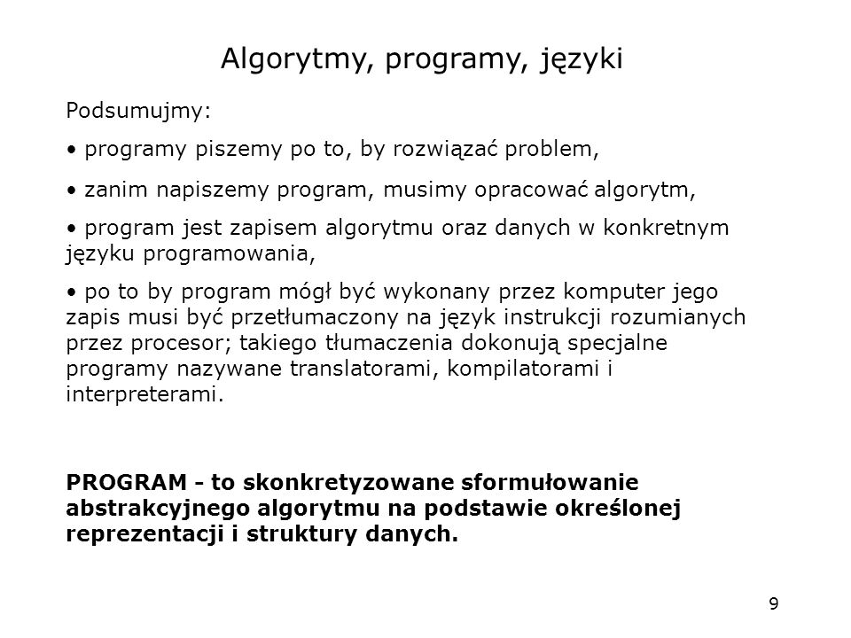 Algorytmy, programy, języki