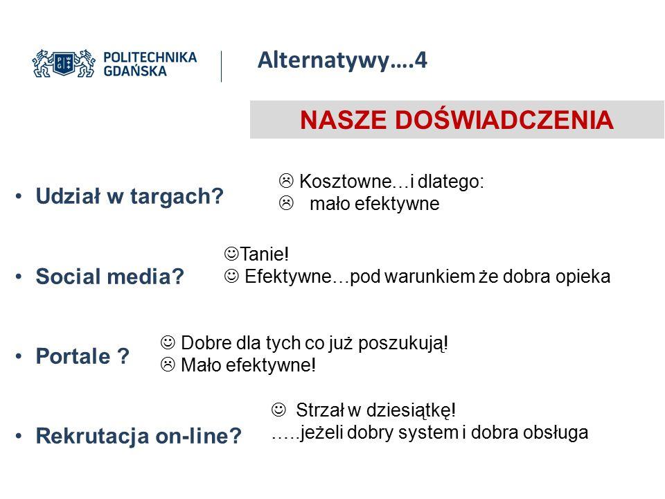 Alternatywy….4 NASZE DOŚWIADCZENIA Udział w targach Social media