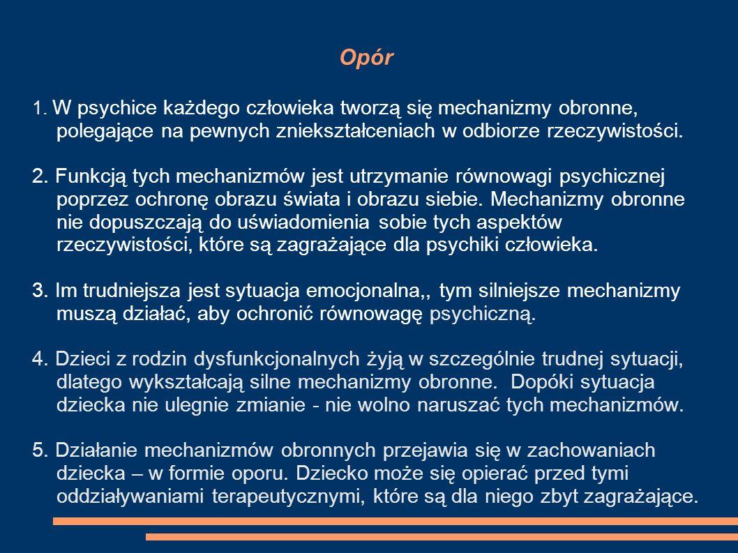 Opór 1. W psychice każdego człowieka tworzą się mechanizmy obronne, polegające na pewnych zniekształceniach w odbiorze rzeczywistości.