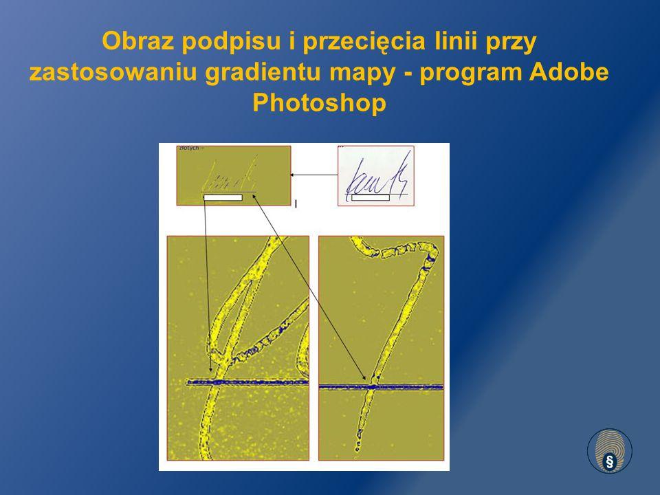 Obraz podpisu i przecięcia linii przy zastosowaniu gradientu mapy - program Adobe Photoshop